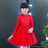 季女童连衣裙加绒加厚韩版宝宝公主裙红色儿童礼服装洋气裙子