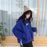 2018新款秋冬女装韩版宽松加绒加厚字母绑带连帽套头卫衣上衣外套 均码
