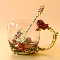 欧式创意珐琅彩水杯耐热工艺带把咖啡杯水晶玻璃杯家用花茶琳琅杯