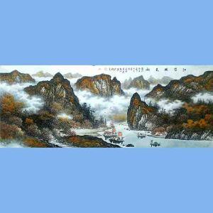 中国美术协会会员,广西省美术家协会理事,国家一级美术师蒋清(江岸晚秋图)