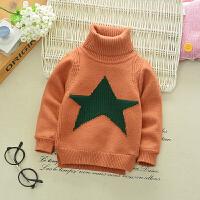 男童高领毛衣加绒加厚儿童套头针织衫装婴儿宝宝保暖羊绒打底衫 橘红色 高领大星毛衣