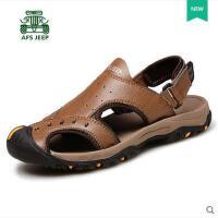 战地吉普男鞋凉鞋 包头凉鞋男士沙滩鞋真皮户外运动休闲凉鞋B166113
