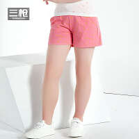 三枪利发国际lifa88裤女童2018春季新品纯棉毛圈睡裤系带全棉儿童居家短裤