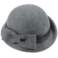 秋冬羊毛毡帽 圆顶小礼帽卷边大蝴蝶结贝雷帽女款