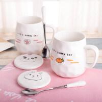 创意ins杯子陶瓷马克杯咖啡杯带盖勺早餐牛奶杯家用喝水杯大容量