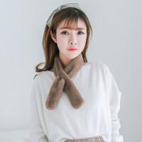 时尚韩版仿毛毛毛绒獭兔毛围巾男女冬季学生毛领子围脖套头百搭小领巾