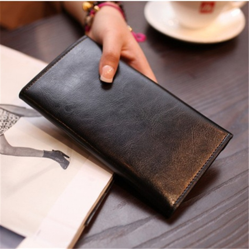 长款钱包女复古简约女生钱包牛皮薄卡位钱夹多功能皮夹女士钱包
