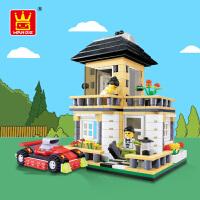 万格城市别墅房子街景积木玩具益智力拼装儿童小颗粒塑料3-6周岁
