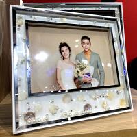 婚纱影楼立体流动珍珠相框相架摆台 椭圆水晶摆件照片定制 贝壳珍珠