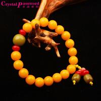 水晶密码CrystalPassWord 天然三宝菩提手珠男女款(黄色)TGMY1Q063