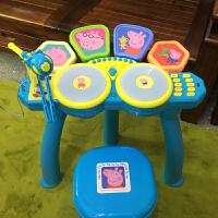 小猪佩奇架子鼓儿童乐器玩具3-6岁 初学者爵士敲打鼓男女孩麦克风