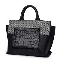 女士包包2017新款大包包手提包女大包简约鳄鱼纹翅膀包女包斜挎包SN4991 黑色F款 现货