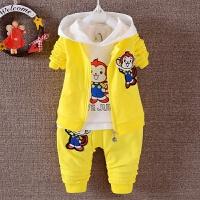 小孩童装3件套0-1-2岁半男童春装6-8-9个月宝宝纯棉衣服婴儿服装 黄色 H牌猴子3件套