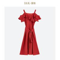 【秒杀价:69元】爱客2019夏季 红色气质荷叶边收腰中长款连衣裙