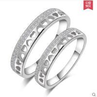 简单大方精致心形女男结婚对戒 坚固厚实耐用925银镀白金情侣戒指