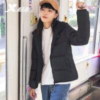 特步羽绒服女连帽保暖外套短款加厚潮流纯色运动上衣881428199132
