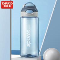 日本泰福高运动水杯大容量男女便携健身塑料杯子户外防摔成人水壶T2791蓝灰色500ML
