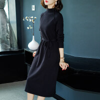 长袖针织连衣裙2018秋冬新款女修身显瘦过膝中长款时尚打底毛衣裙