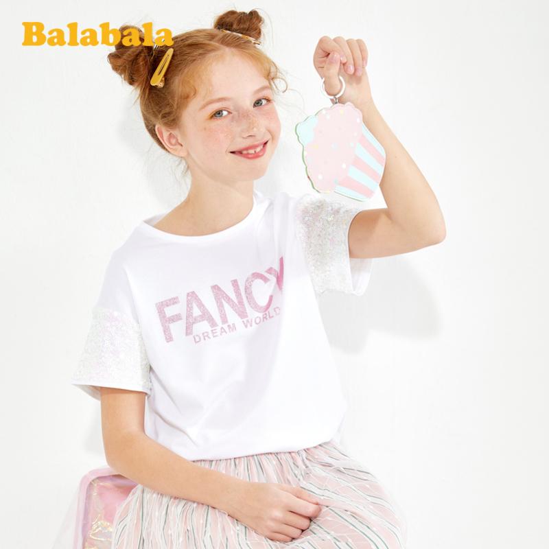 【5.25超品 4件3折价:47.7】巴拉巴拉儿童打底衫女童短袖t恤2020新款夏装大童洋气甜美百搭女