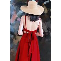 夏季新款时尚巴厘岛旅游度假纯色长裙性感露背系带蝴蝶结吊带连衣裙麻雪纺沙滩裙女装 红色