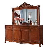 欧式餐边柜客厅实木茶水柜带镜子复古美式碗柜橡木雕花储物柜深色 4门