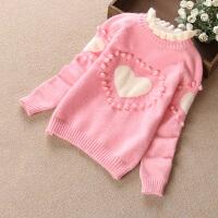 中大女童毛衣加绒加厚高领打底衫季双层保暖女孩羊绒衫13-15岁 浅粉红 花边领-爱心加绒