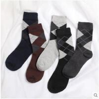 袜子男冬季棉袜吸汗短袜菱形格子秋冬保暖商务礼盒男袜中筒袜