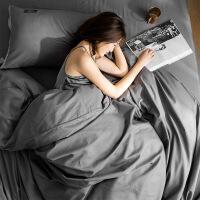 棉四件套40s棉纯色被套床单1.5米单双人居家床品三件套