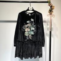 女装春季复古气质刺绣天鹅绒连衣裙 韩版黑色金丝绒裙子