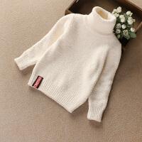 儿童高领套头毛衣男女童加厚毛线衣宝宝纯色百搭打底针织衫秋款 米白色 没有红标