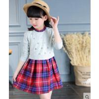 小清新时尚韩版格子裙套装柔软舒适百搭休闲中大童女童连衣裙