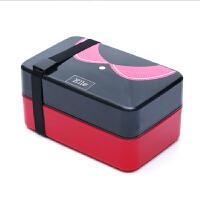 创意学生饭盒可爱便当盒可密封微波情侣配叉勺子双层分格餐盒 枣红
