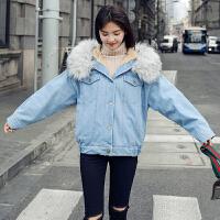 【用券立减50元】白领公社 棉服 女士冬季新款大毛领短款大码棉衣女式韩版加厚宽松学生外套