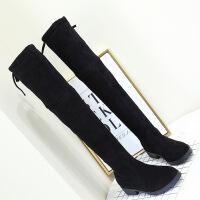 过膝长靴子女秋冬季2018新款瘦瘦弹力骑士长筒靴粗跟高筒靴小辣椒