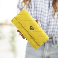 新款女士钱包女长款日韩版多功能菱格皇冠搭扣学生皮夹钱夹