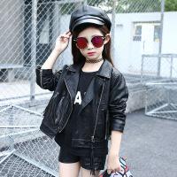 女童皮衣春秋款儿童中大童PU皮流苏外套小女孩短款薄款夹克上衣潮 黑色