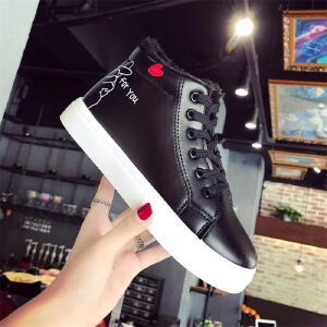 秋冬季新款女鞋高帮鞋女平底运动鞋真皮板鞋短靴休闲鞋加绒棉鞋女靴