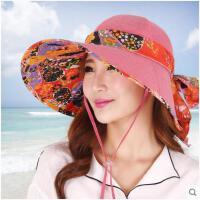 防晒帽子女夏天遮阳帽户外太阳帽沙滩帽防紫外线大沿可折叠