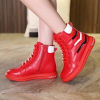 秋季儿童棉鞋加厚加绒休闲鞋子新款百搭韩版童鞋女童运动鞋高帮 红色88