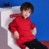 【开学季3件2折:50】巴拉巴拉旗下 巴帝巴帝男童加绒卫衣运动黑红两色2018冬季新款