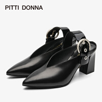 PITTI DONNA欧美尖头粗跟高跟皮搭扣饰女凉鞋 9M79501