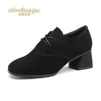 金粉世家 红蜻蜓旗下17秋新品复古方头粗跟女士深口单鞋