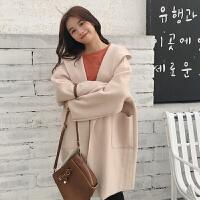 秋冬女装韩版宽松纯色中长款翻领连帽毛呢外套学生呢子大衣风衣潮