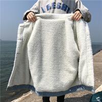 羊羔毛牛仔外套女秋冬2018新款韩版学生宽松加绒加厚棉袄上衣 X