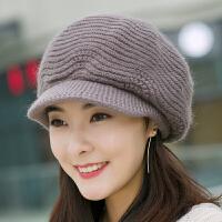 帽子女冬天韩版潮兔毛帽保暖针织毛线帽秋冬季时尚纯色鸭舌贝雷帽 可调节