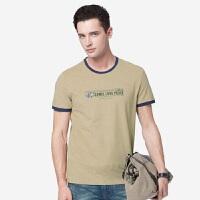骆驼男装 2019夏季新款青年时尚撞色短袖t恤男士休闲印花透气体恤