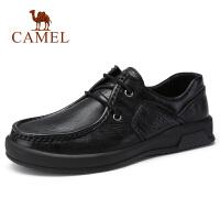 camel骆驼男鞋 秋季新品青年日常复古休闲皮鞋防滑工作系带牛皮鞋