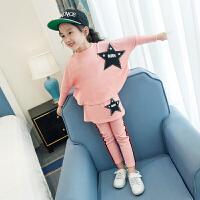 女童秋款运动卫衣套装小女孩儿童装7外套8秋装12岁4裙裤 粉色五角星套装