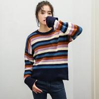 韩国秋装新chic彩虹条纹百搭气质显瘦长袖套头毛衣针织衫女