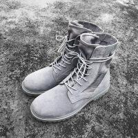 妮情侣中高帮马丁靴子IM秋冬国潮嘻哈高帮鞋高街机能风灰色沙漠靴男透气 灰色